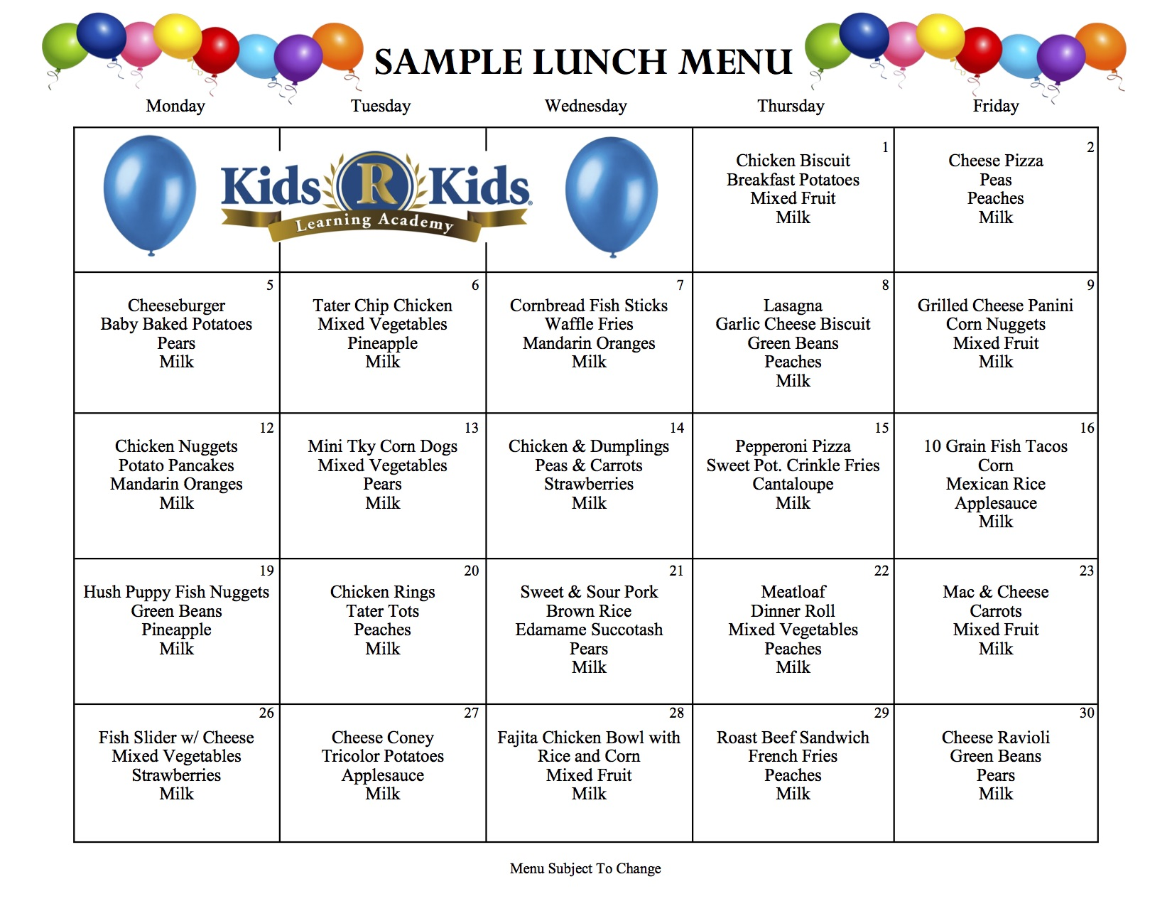 sample menu  u2013 kids r kids greater cincinnati